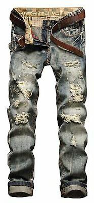 NITAGUT Men's Vintage Casual Ripped Broken Hole Jeans Denim