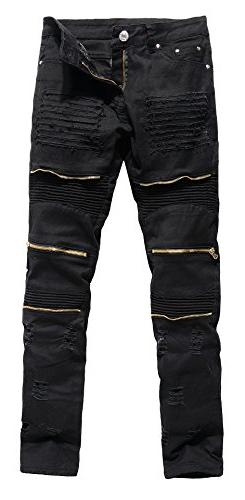 Men's Vintage Distressed Ripped Biker Moto Denim Pants Slim
