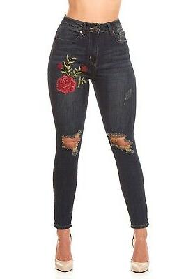 VIP Jeans for women Ripped High Waisted sexy floral embroide