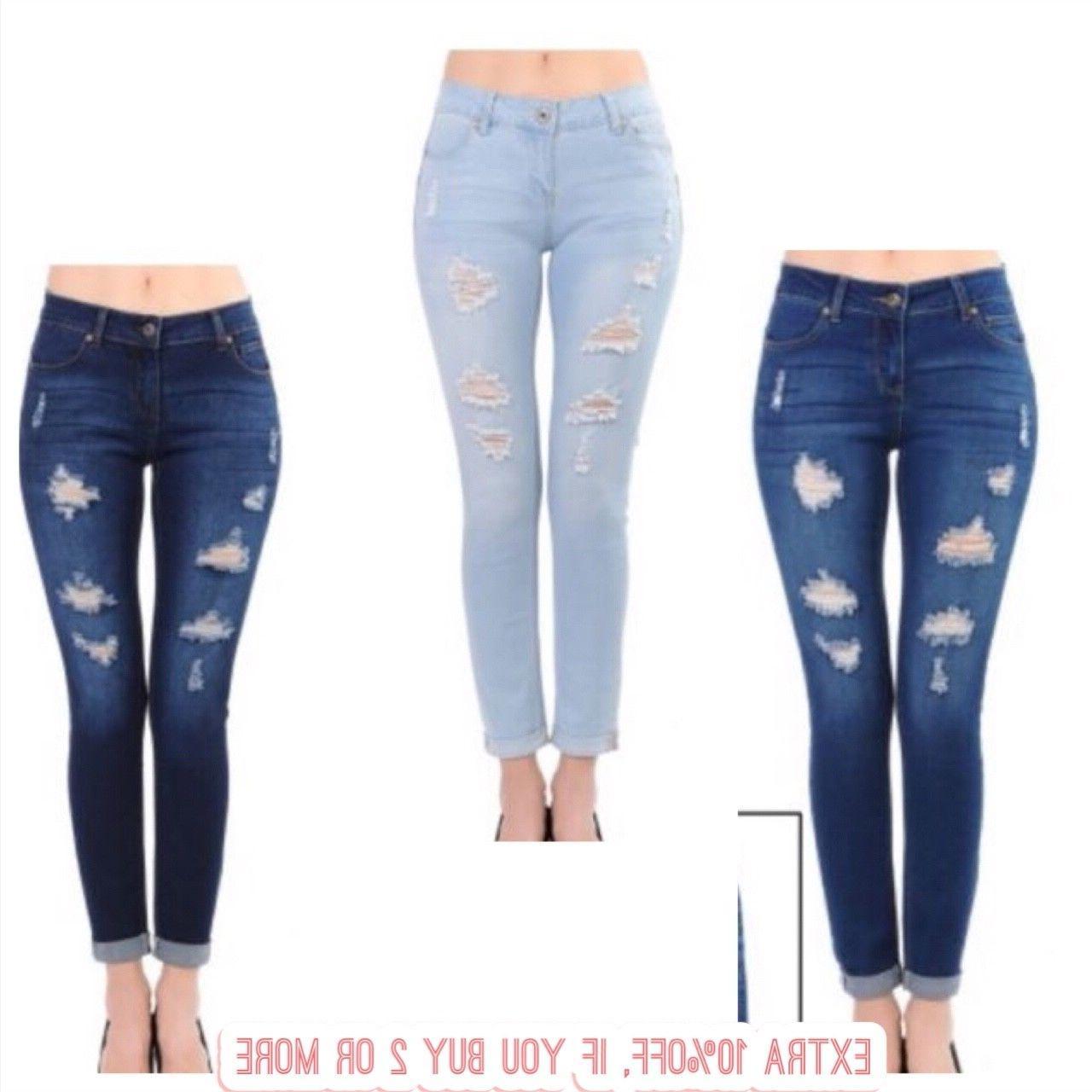 "Waxjean Denim Women's  Distressed Push-Up Skinny Jeans ""BUTT"