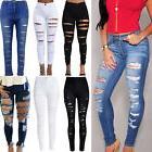 Women Denim Skinny Ripped Pants High Waist Elastic Jeans Sli