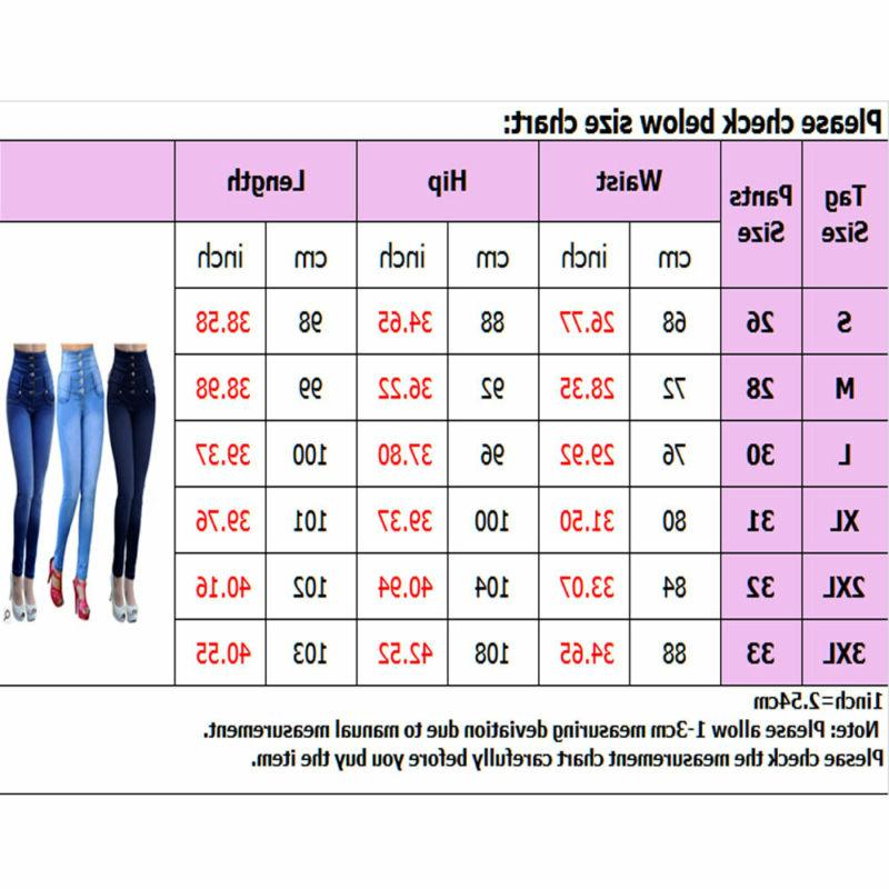 Women Waisted Denim Jeans Stretchy Skinny Trousers Pants