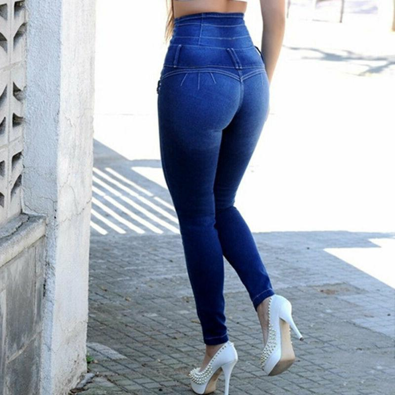Women Waisted Denim Jeans Skinny Pencil Trousers Pants Plus Size
