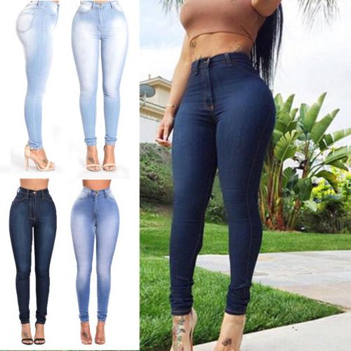 Womens Skinny Stretchy Butt Lift Denim High Rise Pants Jeggi