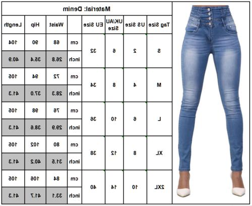 Womens High Waisted Skinny Jeans Long To