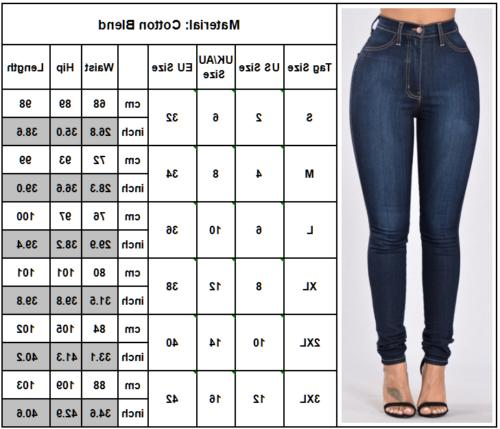 Womens Waisted Skinny Jeans Jeggings Long 2 To
