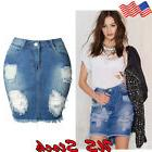 Women Ripped Denim Skirt Jeans High Hole Waist Vintage Skinn