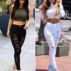 Women Ripped Jeans Denim Pencil Pants High Waist Stretch Lon