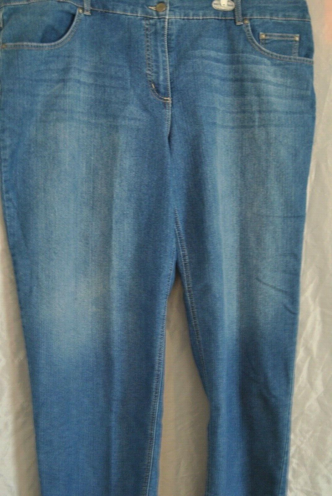 Women's Blue Jeans by Hanes Size 26WS Classic Fit Denim Stra