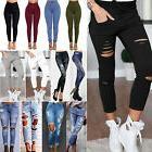 Women's High Waist Ripped Stretch Jeans Jeggings Trousers De