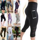 Women's High Waist Yoga Pants Pocket Fitness Sports Capri Le