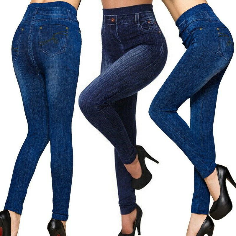 Women Pencil Stretch Pants High Waist Skinny Jeggings Jeans