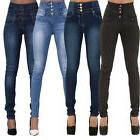 Womens High Waisted Trousers Jeans Slim Fit Stretch Jeggings