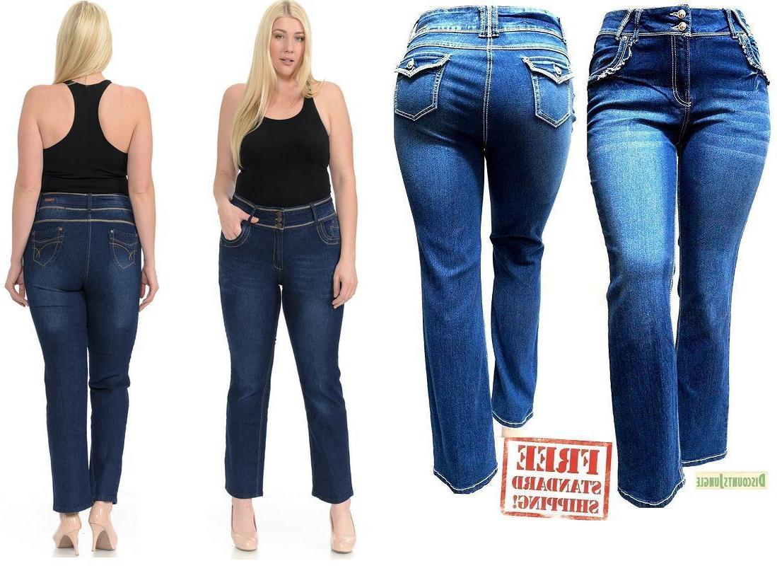 WOMENS PLUS SIZE BLUE DENIM Stretc JEANS Straight Leg Flap P