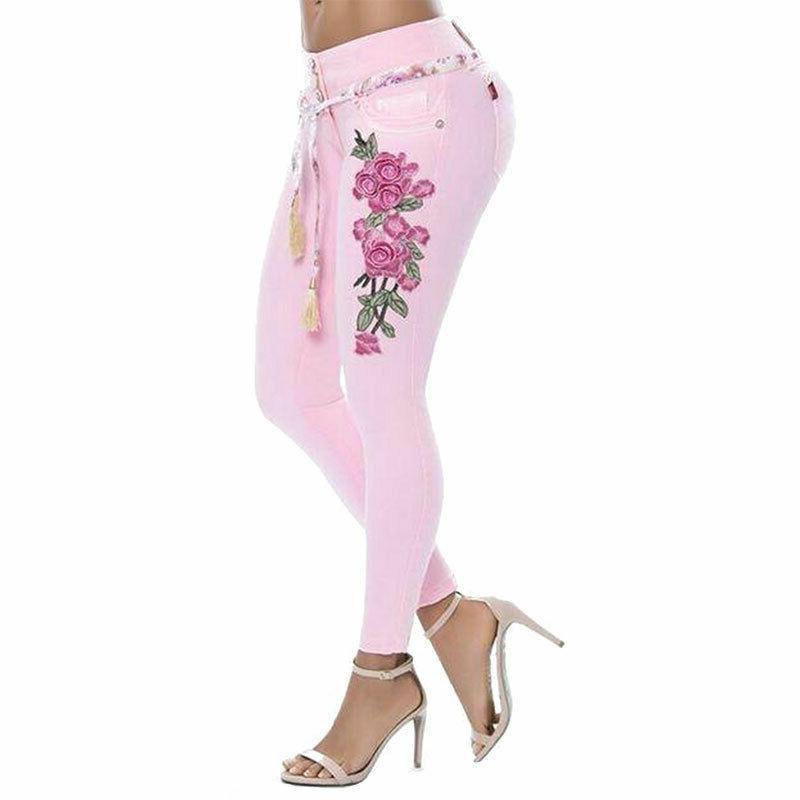 Plus Print Stretch Long Trousers