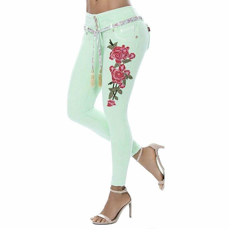 Plus Women Print Stretch Pants Long Trousers