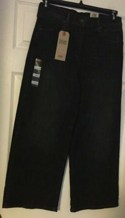 Levi's Mile High Cropped Wide Leg Black Denim Jeans Size 29