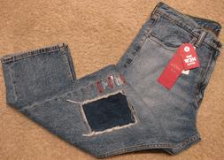 Levis 505 Straight Fit Distressed Stretch Denim Blue Jeans P