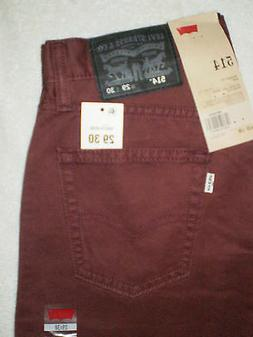 Levis 514 Mid Slim Fit Straight Leg Mens Burgundy Denim Jean