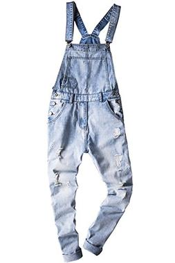 Sokotoo Men's Light Blue Slim Snow Washed Denim Bib Overalls