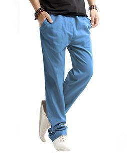 SIR7 Men's Linen Casual Lightweight Drawstrintg Elastic Wais