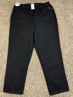 Liz & Me Black Straight Leg Jeans w/ Some Elastic on Waist.