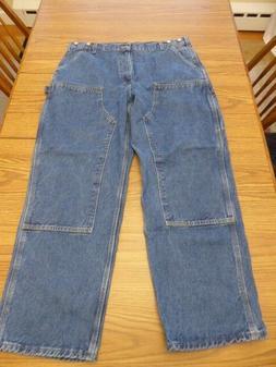 Carhartt Logger Carpenter Men's Double Knee Front Blue Jeans