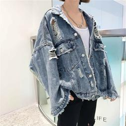 Long Sleeves Oversize Ladies Denim Jean Jacket Ripped Hole O