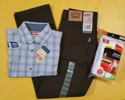 Lot Levis jeans Wrangler Shirt Hanes Tagless Briefs One outf