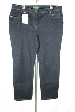 LRL Raplh Lauren Womens Sz 16W  Blue Stretch Straight Leg De
