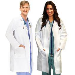Medical White Unisex Long Lab Coats XS S M L XL 2XL 3XL For