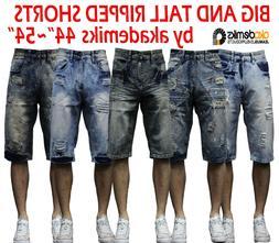 Men big and tall akademiks jean shorts paint Ripped Denim Sh