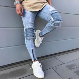 Men Biker Ripped Jeans Denim Pants Distressed Skinny Slim Fr