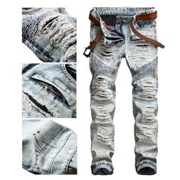 Men Bleached Light Blue Straight Biker Jeans Ripped Distroye