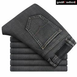 Men Casual Jeans Fashion Business Stretch Straight Denim Tro