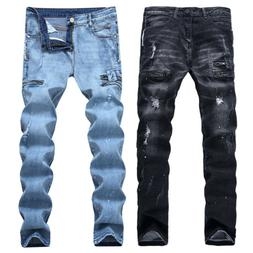 Men Denim Ripped Jeans Stretch Slim Fit Distressed Straight
