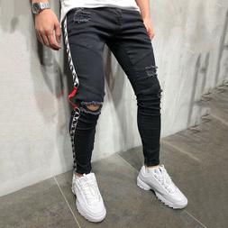 Men Skinny Jeans Destroyed Ripped Frayed Denim Slim Fit Pant