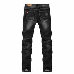 Men Fit Stretch Denim Jeans Slim Casual Business Trousers Fo
