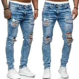 Men Frayed Ripped Skinny Jeans Destroyed Slim Fit Stretch De