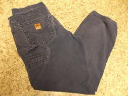 Carhartt Men Navy Blue B159 Loose Fit Carpenter Work Jeans 3
