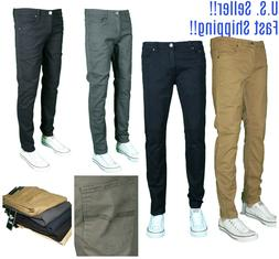 Men NAVY KHAKI WHITE RED BLACK TWILL Skinny Jeans Slim STRET