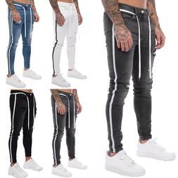 Men Ripped Biker Jeans Striped Frayed Trousers Slim Fit Deni