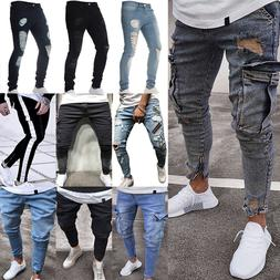 Men Ripped Biker Skinny Jeans Frayed Destroyed Trousers Casu