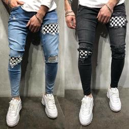 Mens Denim Ripped Jeans Skinny Pants Frayed Biker Destroyed