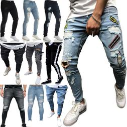 Men Ripped Biker Skinny Jeans Frayed Pants Casual Slim Fit J