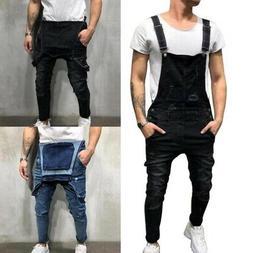 Men Ripped Denim Bib Overalls Dungarees Jeans Jumpsuit Full