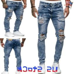 Men Ripped Jeans Frayed Pencil Pants Denim Trousers Stretch