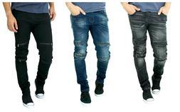 ETZO Men's biker jeans, Slim Skinny fit premium Ripped Distr