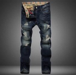 Mens Ripped Skinny Jeans Distressed Frayed Biker Slim Fit De