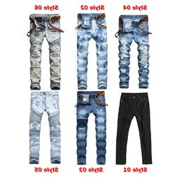 Men's Ripped Biker Jeans Skinny Jeans Men Distressed Slim Fi